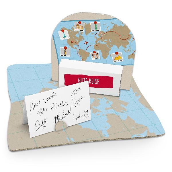 itenga Geldgeschenkverpackung Weltkarte (Motiv 49) mit B...