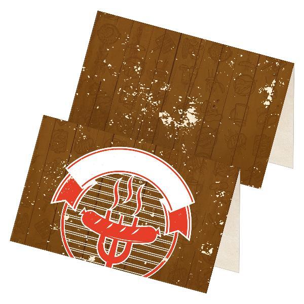 itenga 24x Tischkarten Platzkarten BBQ rustikal