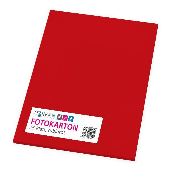 itenga Fotokarton - A4 300 g/qm rubinrot 25 Blatt