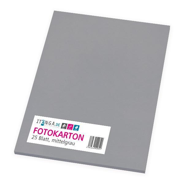 itenga Fotokarton - A4 300 g/qm mittelgrau 25 Blatt