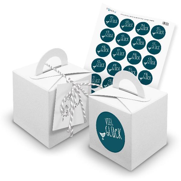itenga 24x Würfelbox mit Griff weiß + Garn grau (V22) + ...