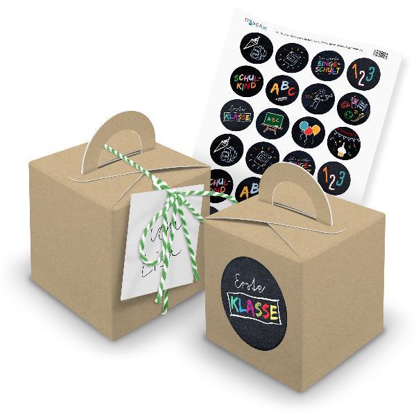 itenga 24x Würfelbox mit Griff braun + Garn grün (V30) +...