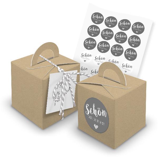 itenga 24x Würfelbox mit Griff braun + Garn grau (V31) +...