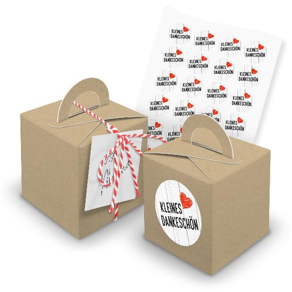 itenga 24x Würfelbox mit Griff braun + Garn rot (V28) + ...
