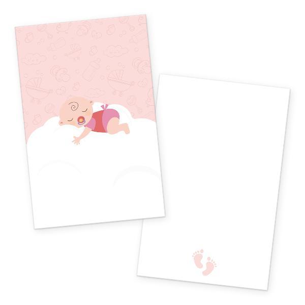 itenga 24x Kärtchen Baby auf Wolke rosa pastell in Vis...