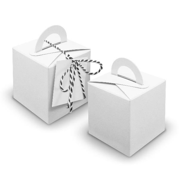 V21 24x Würfelbox mit Griff weiß + Garn schwarz + Anhänger