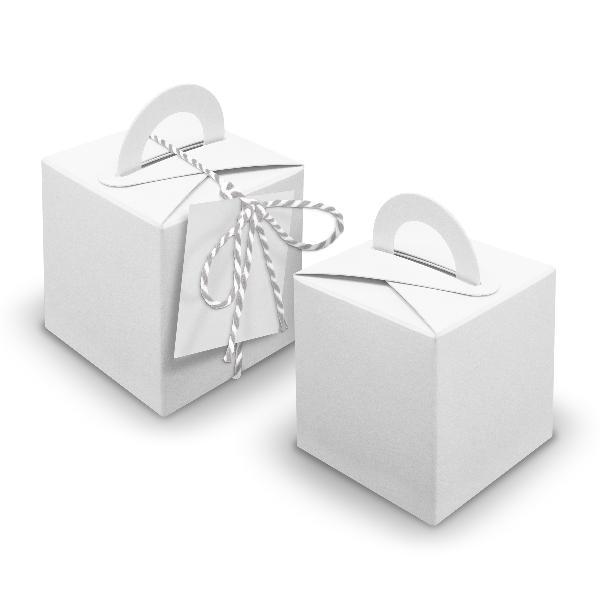 V22 24x Würfelbox mit Griff weiß + Garn grau + Anhänger