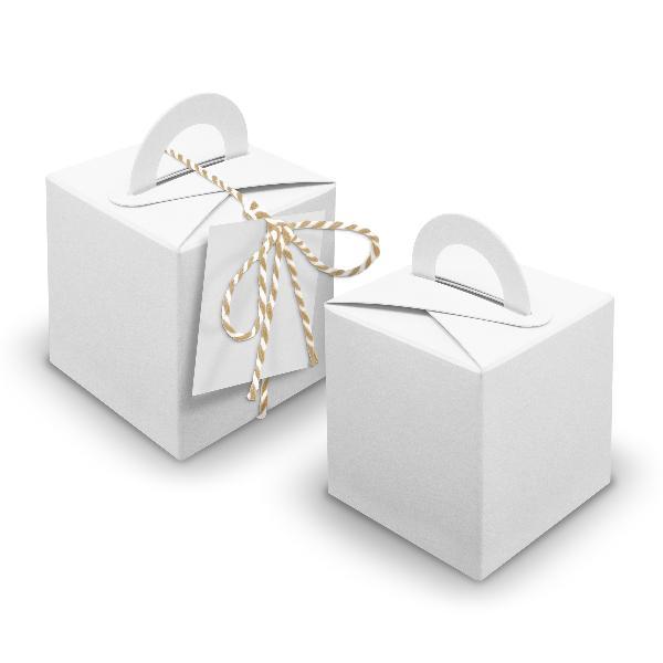V23 24x Würfelbox mit Griff weiß + Garn beige + Anhänger