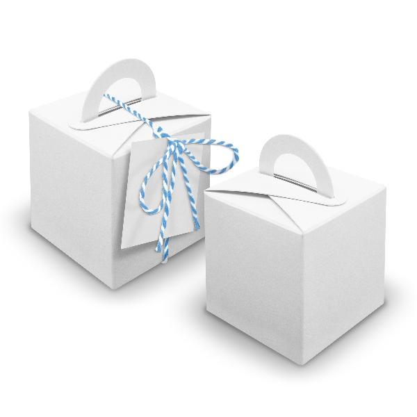 V24 24x Würfelbox mit Griff weiß + Garn blau + Anhänger