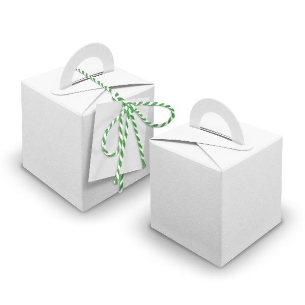 V25 24x Würfelbox mit Griff weiß + Garn grün + Anhänger