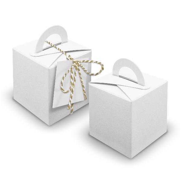 V27 24x Würfelbox mit Griff weiß + Garn gold metallic + ...