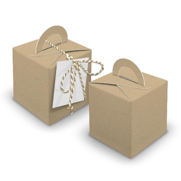 V34 24x Würfelbox mit Griff braun + Garn gold + Anhänger