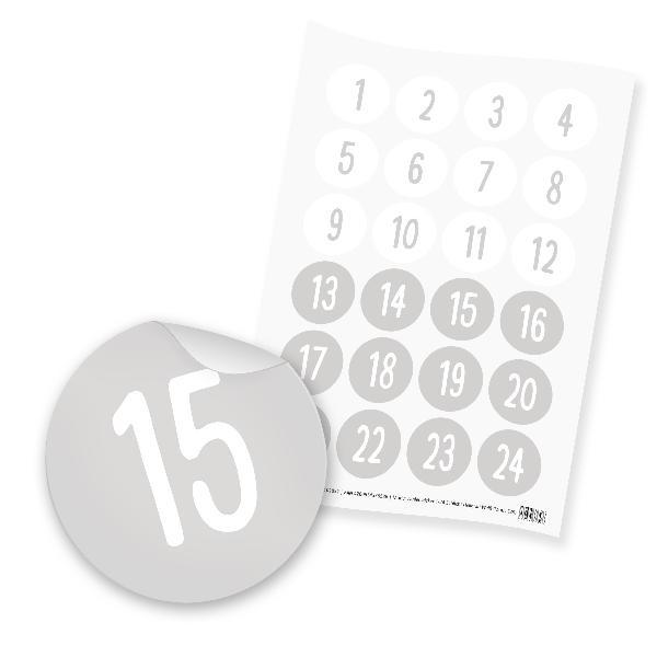 itenga 24x Zahlensticker Z35 Schlicht 1-24 Hellgrau / Weiß