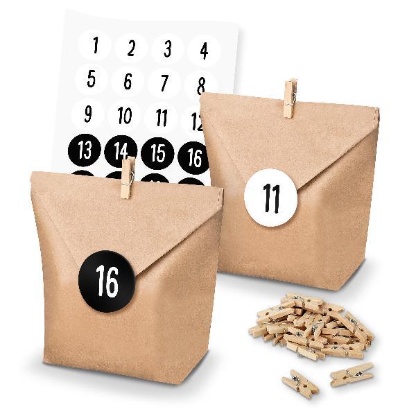itenga SET Adventskalender 24x Tüten + Klammern + Zahlen...