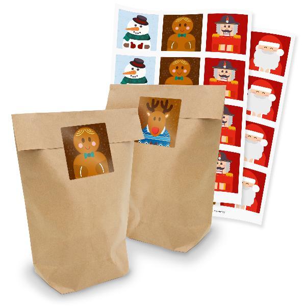 itenga Geschenktüten 24x Tüten + Sticker Weihnachtsbande...