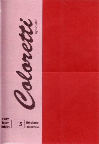 Karte B6 225G Hd Plano 5Er Pack Coloretti Rosso