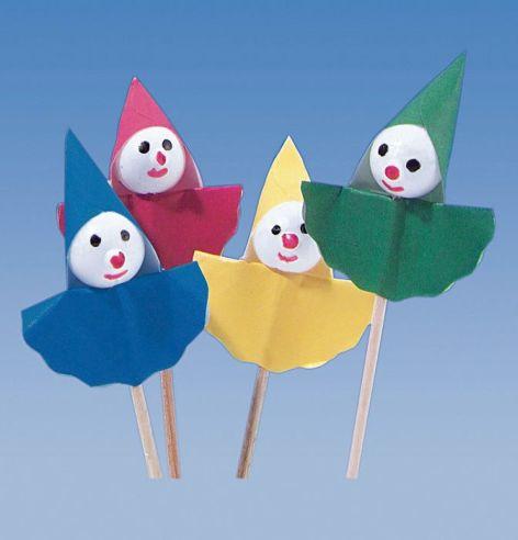 Partypicker Holz 67mm Clown bunt 8 Stück