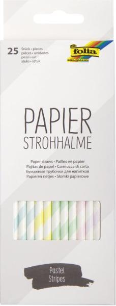 folia Papier-Trinkhalm PASTEL STRIPES, Länge: 200 mm