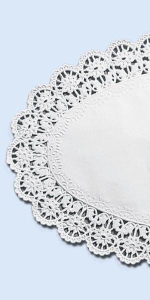 Tortenspitze 37x24cm Weiß Oval 6er Packung