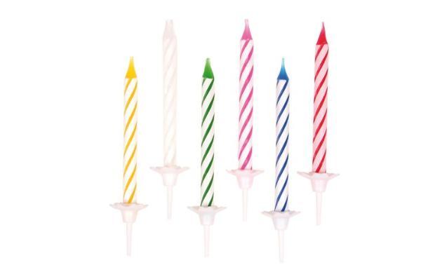 Geburtstagskerze mit Halter bunt 24+12 sortier