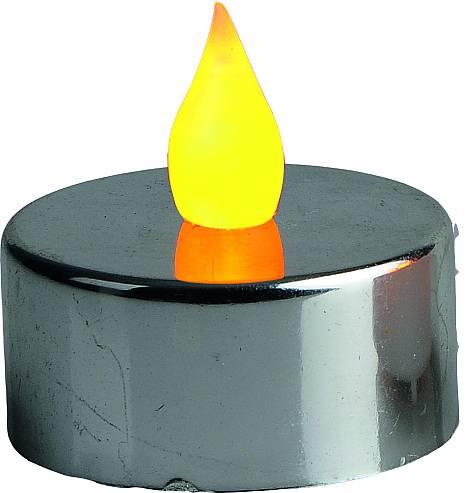Teelicht LED flackernd silber metallic 2 Stück inklusive...