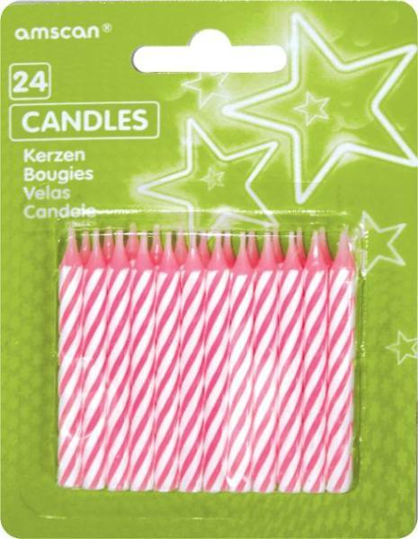 Geburtstagskerze Streifen rosa 24St