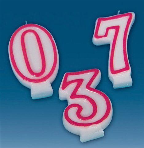 Geburtstagskerze Zahl 5 weiss rot 80mm einzeln in Bliste...