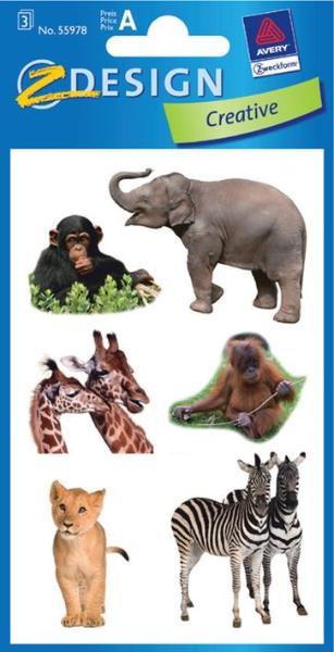 AVERY Zweckform ZDesign Tier-Sticker Safari