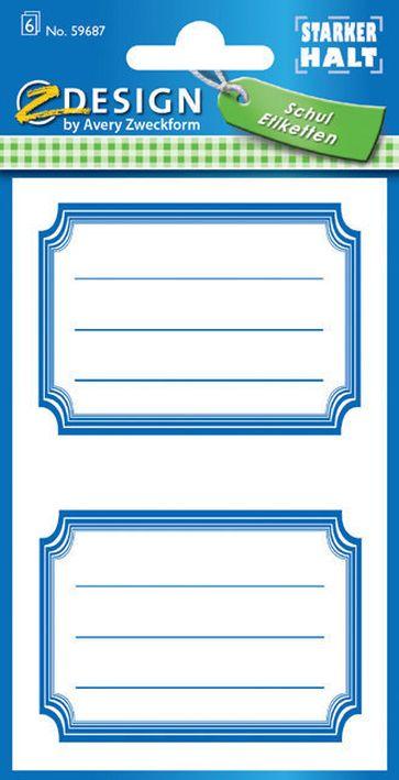 AVERY Zweckform Z-Design Buchetiketten Rahmen blau II