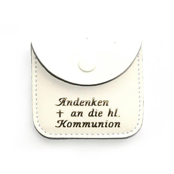 Etui Echt Leder weiss für Rosenkranz mit Text Andenken a...