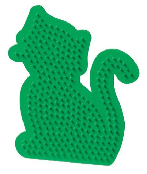Bügelperlen Stiftplatte Katze grün 11,5x13cm