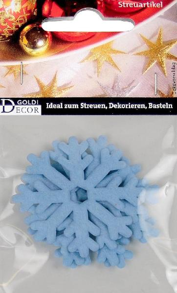 Streudeko 52mm 4 Stück Schneeflöckchen hellblau