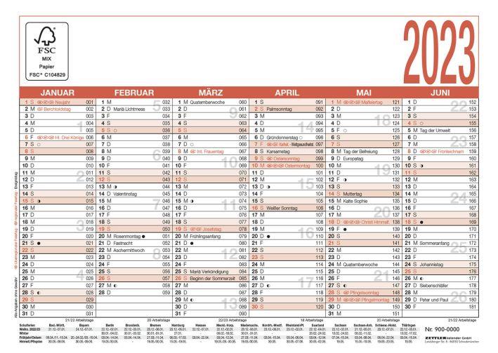 Tafelkalender A6 6 Monate auf einer Seite 148x105mm blau...