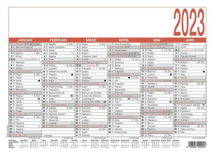 Tafelkalender A4 6 Monate auf einer Seite mit Namenstagen