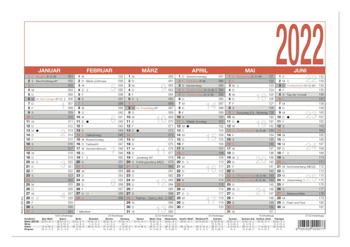 Tafelkalender A4 6 Monate auf einer Seite ***2017 AV***