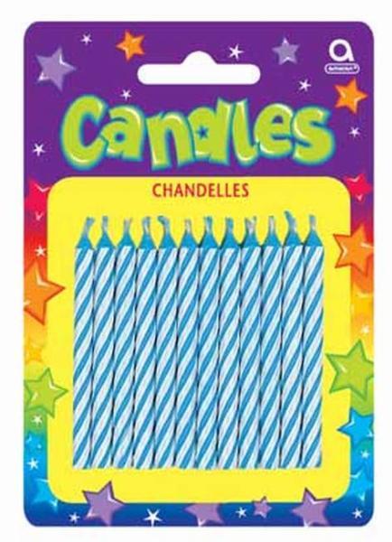 Geburtstagskerze Streifen blau 24St mit 12 Kerzenhaltern