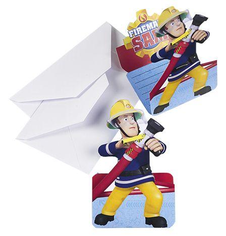 Einladungskarte 8 Stück Feuerwehr Fireman Sam