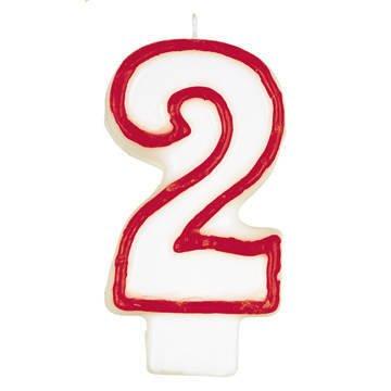 Geburtstagskerze Zahl 2 weiss rot 80mm einzeln in Bliter...