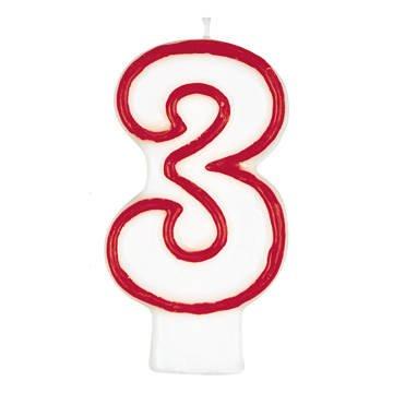 Geburtstagskerze Zahl 3 weiss rot 80mm einzeln in Bliste...