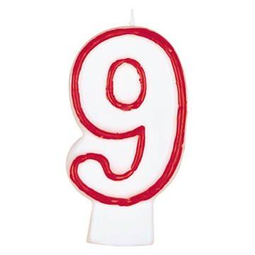 Geburtstagskerze Zahl 9 weiss rot 80mm einzeln in Bliste...