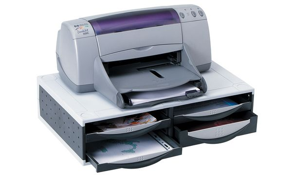 Fellowes Büromaschinen-Ständer, 4 Schubladen, platin/gra...