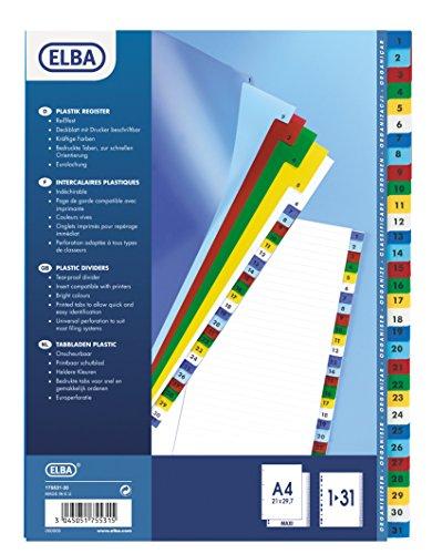 ELBA Kunststoff-Register, Zahlen, DIN A4+, farbig, 31-te...