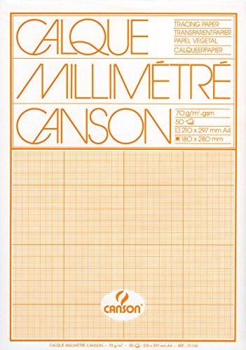 CANSON Millimeterpapier-Block, DIN A4, hochtransparent