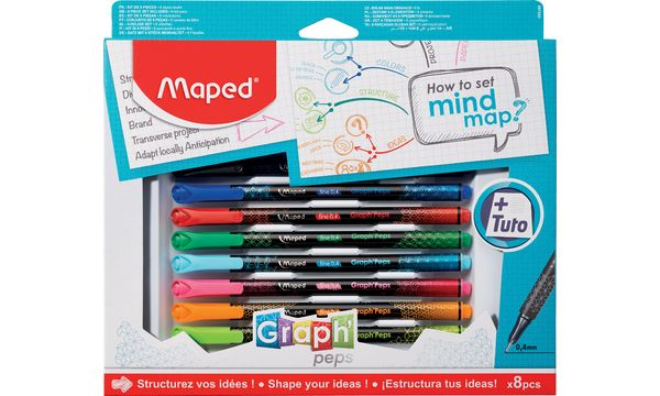 Maped Zeichenset GraphPeps How to set mind map, 8-teilig