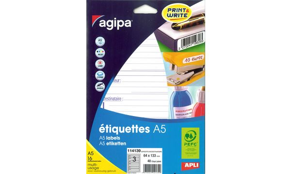 agipa Etiquettes expéditeur/destinataire, 64 x 133 mm