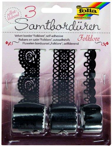 folia Samtbordüren Folklore, selbstklebend, schwarz