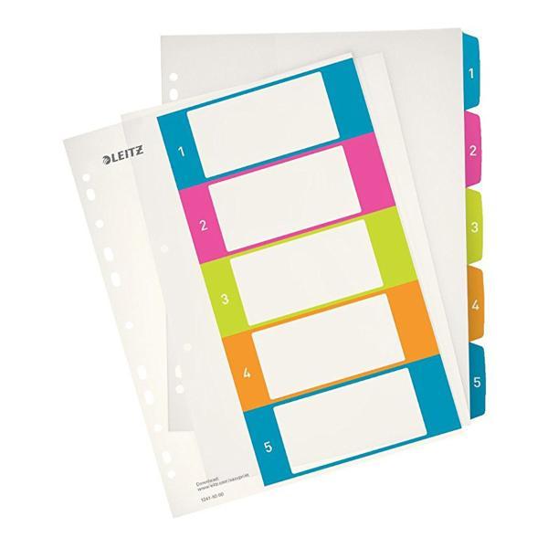 LEITZ Kunststoff-Register WOW, Zahlen, A4 Überbreite, 1-5
