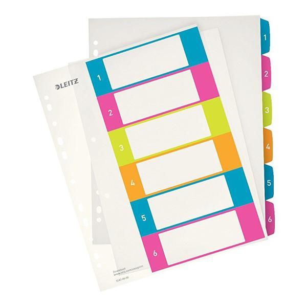 LEITZ Kunststoff-Register WOW, Zahlen, A4 Überbreite, 1-6