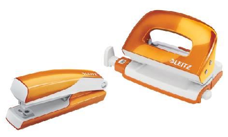 LEITZ Heftgerät- & Locher-Set Mini Nexxt WOW,orange-meta...
