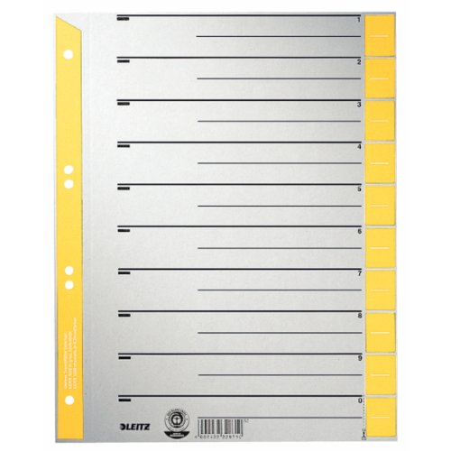 LEITZ Trennblätter, A4 Überbreite, Kraftkarton 230g/qm, ...